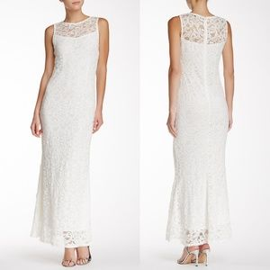 Marina Ivory Stretchy Sleeveless Sequin Lace Gown